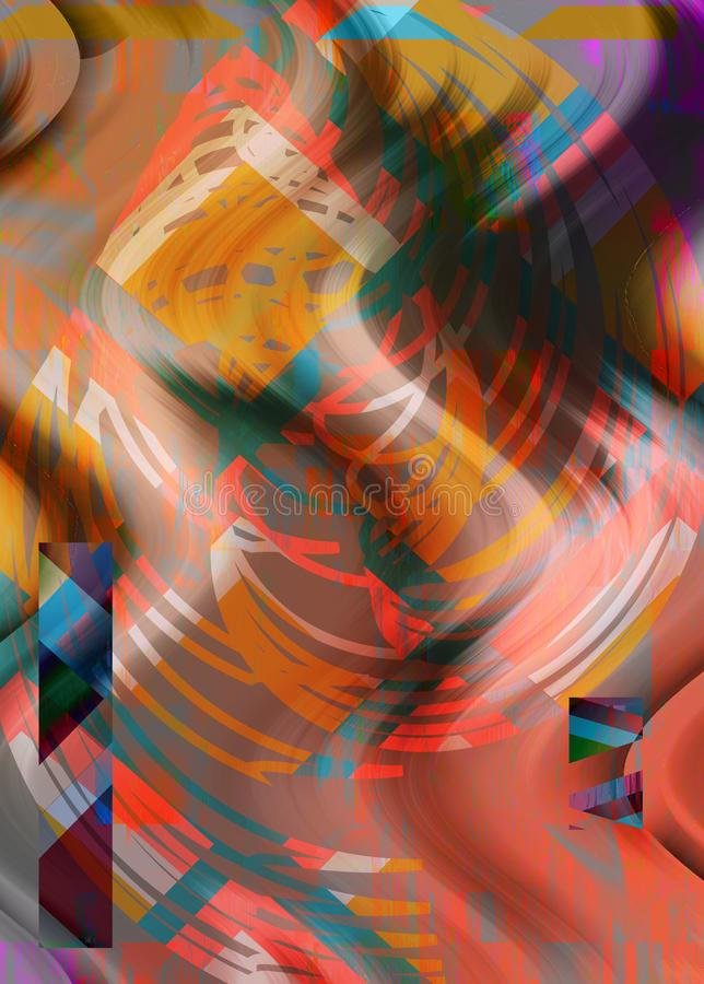 Collage art. Abstract creative poster template. Geometric design, with liquids, shapes, pencil. vector illustration
