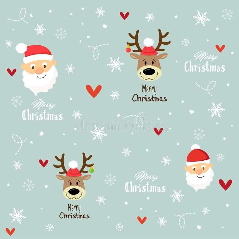 Christmas Santa and reindeer pattern. Christmas Santa and reindeer elegant pattern/ Merry Christmas fabric pattern vector illustration