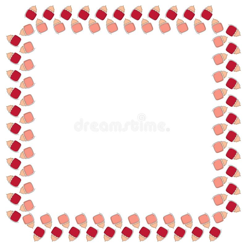 Square frame of open cans with face creams drawn in one line with colored substrates on a white background. Template for text, adv royalty free illustration
