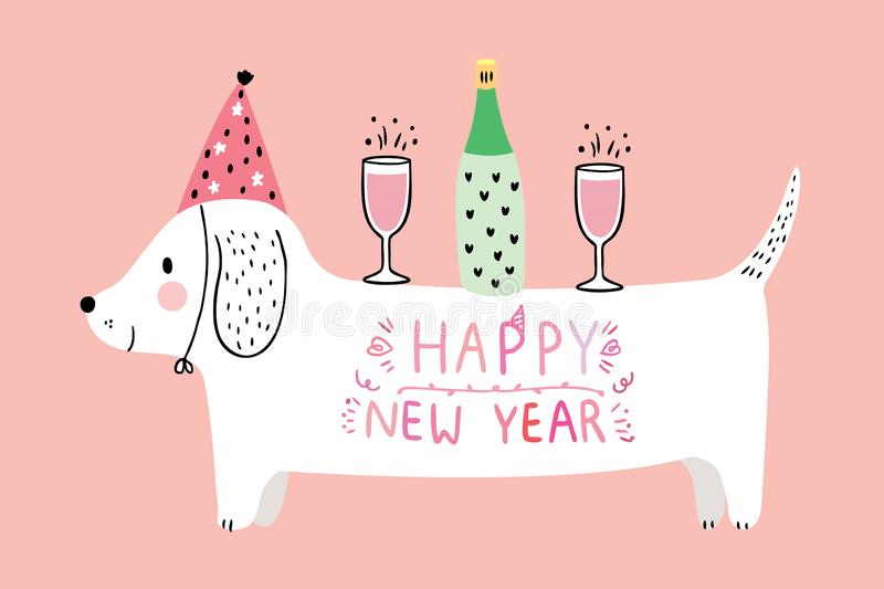Cartoon cute dog and champagne celebration new year . stock images