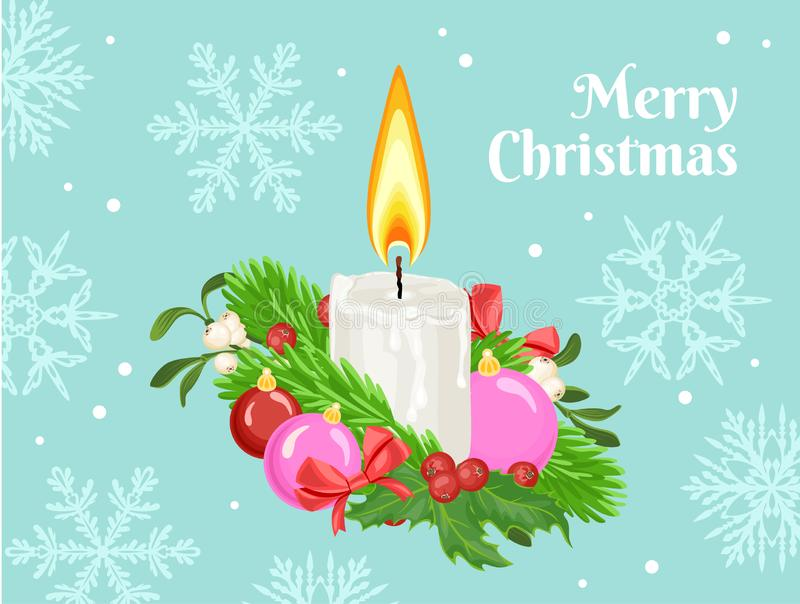 Christmas greeting card with burning candle, green fir, red holly berries, mistletoe and Christmas balls on blue background with s stock illustration