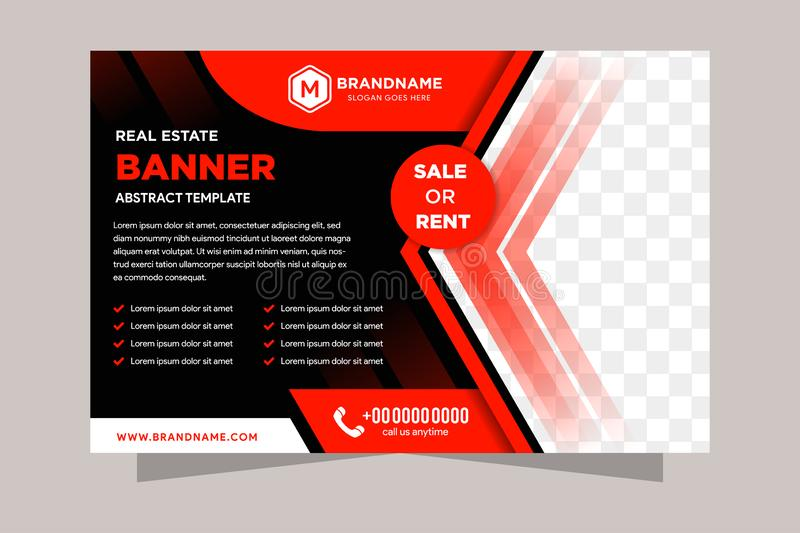 Horizontal Brochure design. Red and black corporate business rectangle template brochure, report, catalog, magazine. royalty free illustration