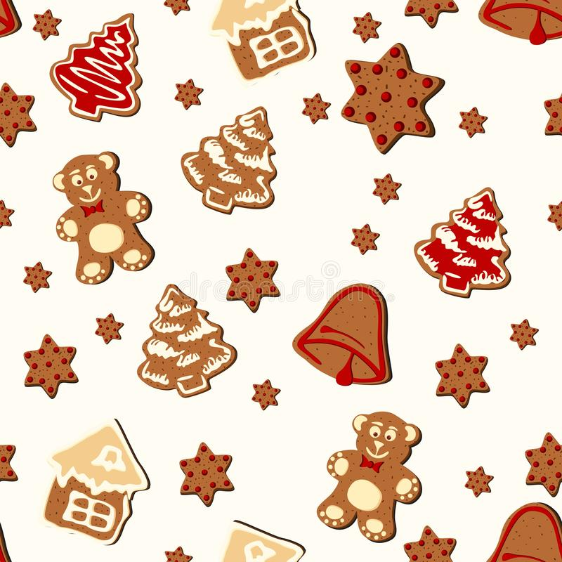 Christmas gingerbread seamless pattern. Ginger cookies on light background. stock illustration