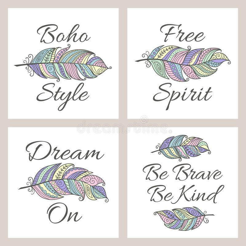 Set of Boho style inspirational quote cards with colorful ornamental feather. Vector ethnic print design. stock illustration
