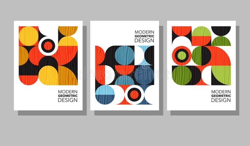 Retro geometric graphic design covers. Cool Bauhaus style compositions. royalty free illustration