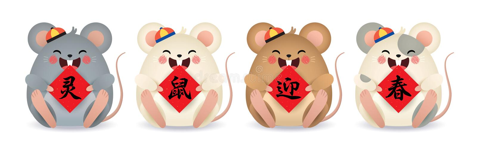 2020 year of the rat - cartoon mouse with chinese couplet isolated on white background vector illustration
