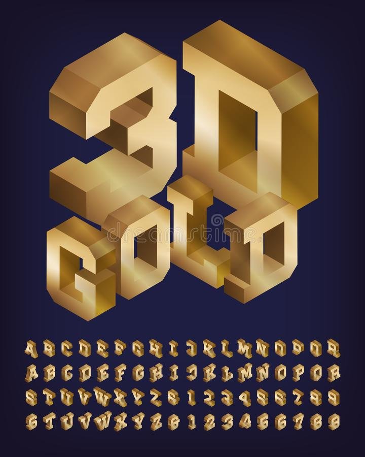 3D Gold Alphabet Font. Isometric Letters And Numbers ...