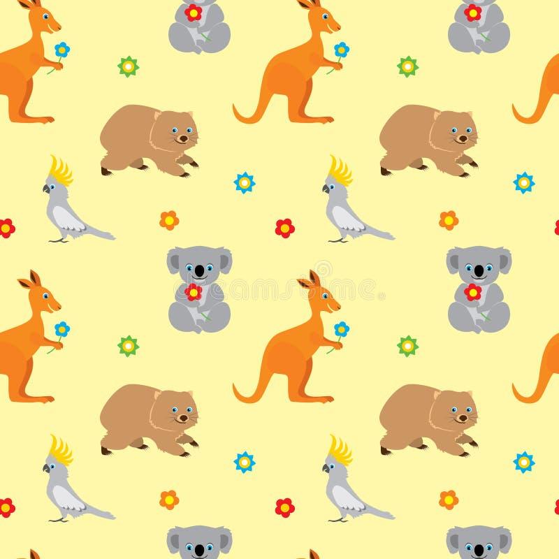 Seamless pattern with cute cartoon australian animals. Kangaroo, koala bear, parrot cockatoo, wombat. Vector cartoon flat illustra vector illustration