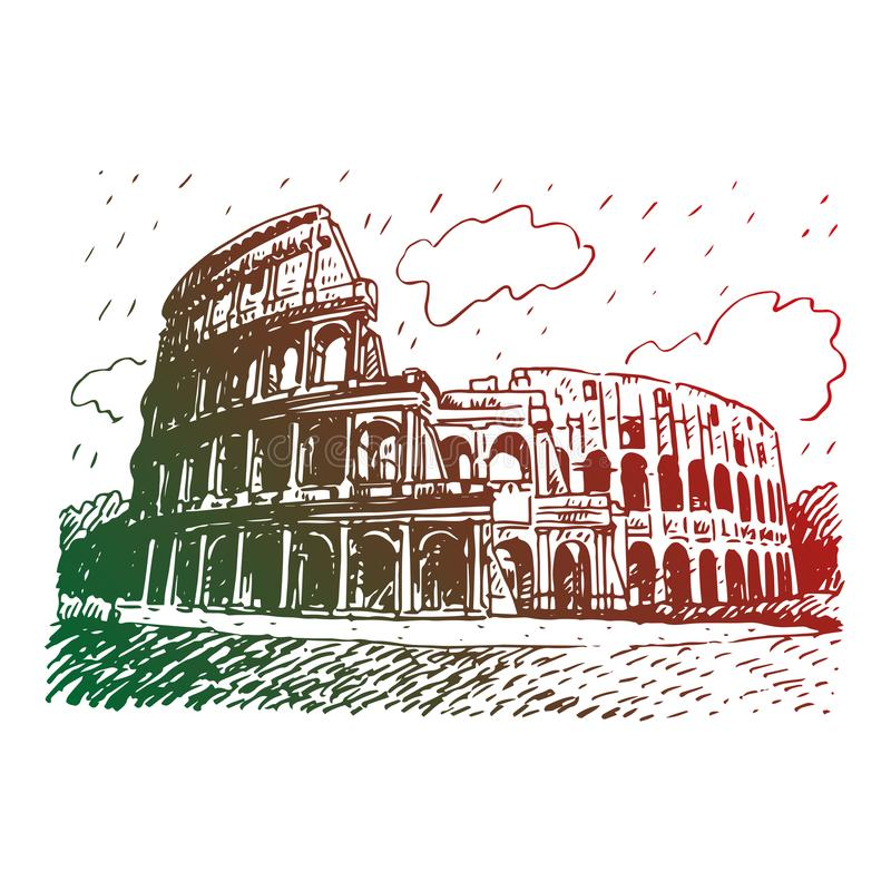 Colosseum. Rome, Italy. Graphic illustration. Colosseum in Rome, Italy. Vector hand drawn sketch stock illustration
