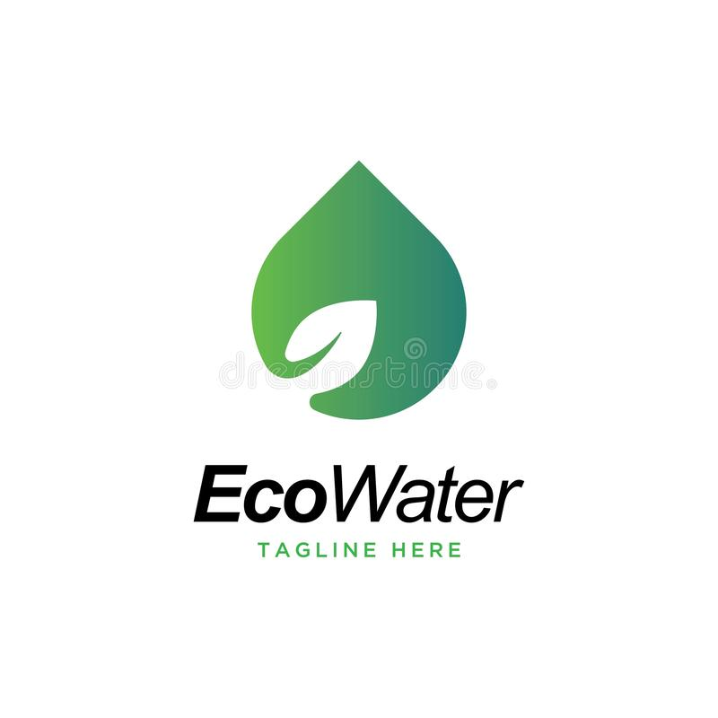 Eco water logo design vector template.water drop with leaf symbol. stock illustration