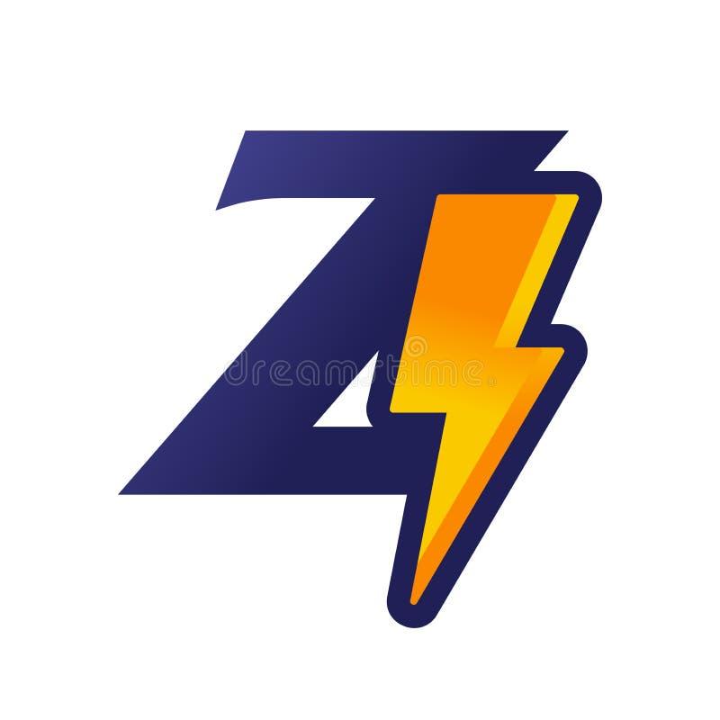 Thunder Flash Z Letter Electrical Logo Icon. Stock Vector