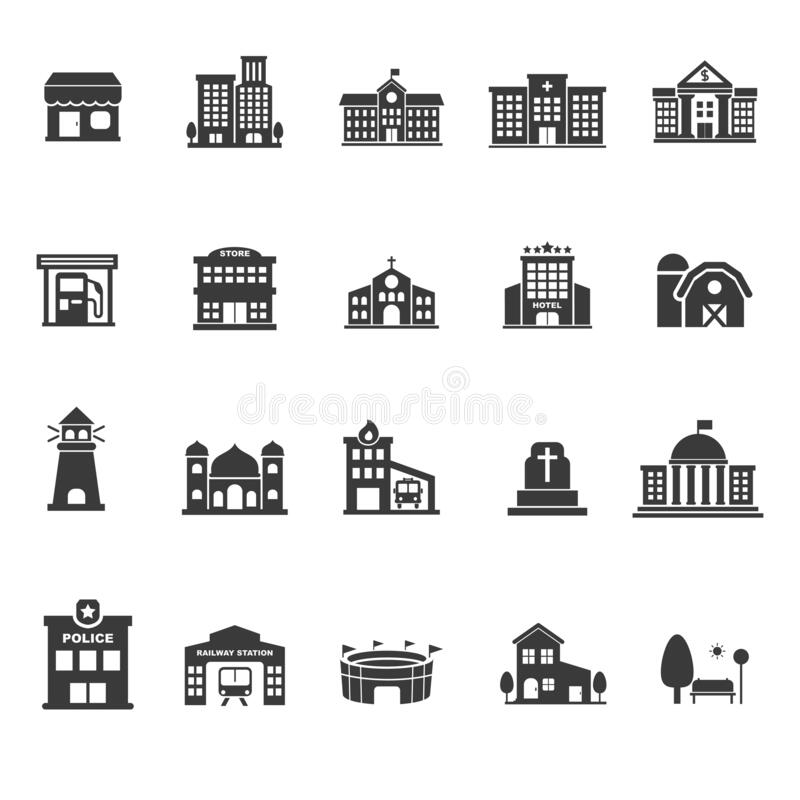 Set of town architecture and buildings icons in glyph style vector illustration