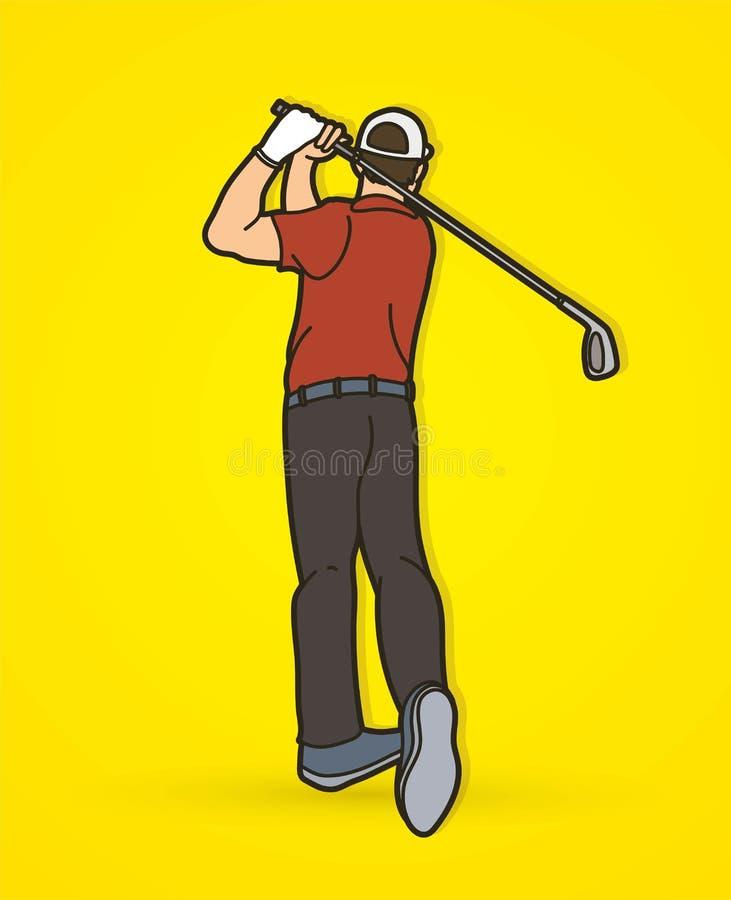 Golf player action cartoon sport graphic vector illustration
