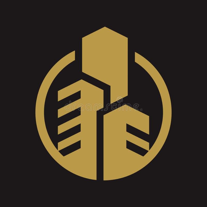 Golden Building Real Estate Logo Icon Concept Template On
