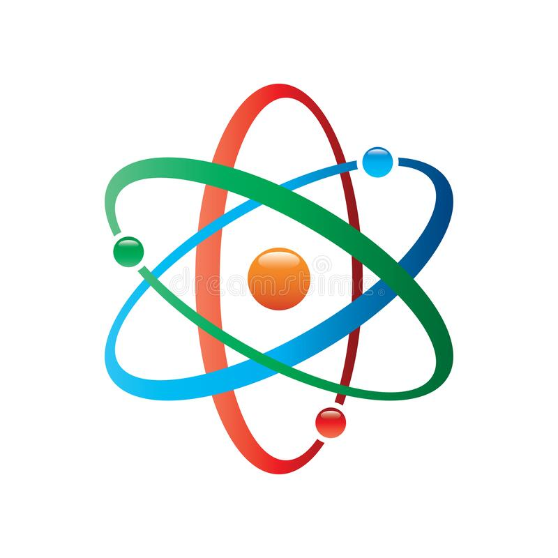 Colorful Atom vector icon. Symbol of science, education, nuclear physics, scientific research. Three electrons rotate in orbits ar. Ound atomic nucleus. Concept stock illustration