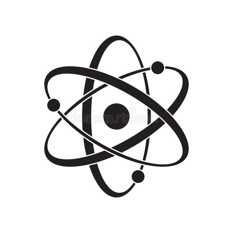 Black Atom vector icon. Symbol of science, education, nuclear physics, scientific research. Three electrons rotate in orbits. Around atomic nucleus. Concept of royalty free illustration