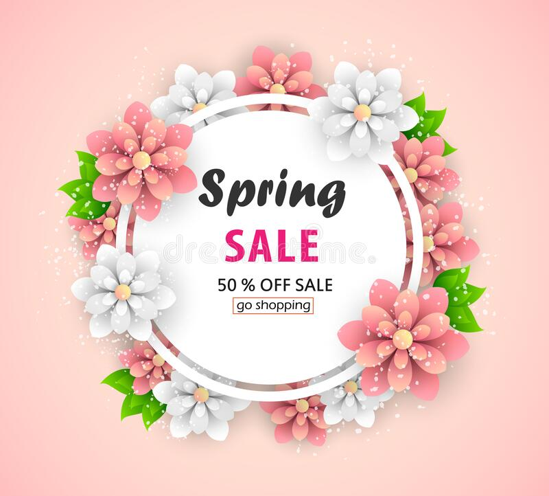 Spring sale background layout for banners. Voucher discount with beautiful flowers. stock images