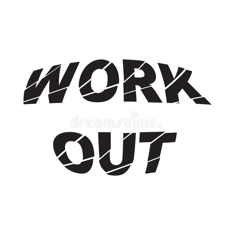 Work out - Vector illustration design for poster, textile, banner, t shirt graphics, fashion prints, slogan tees, stickers, cards. Decoration, emblem and other royalty free illustration
