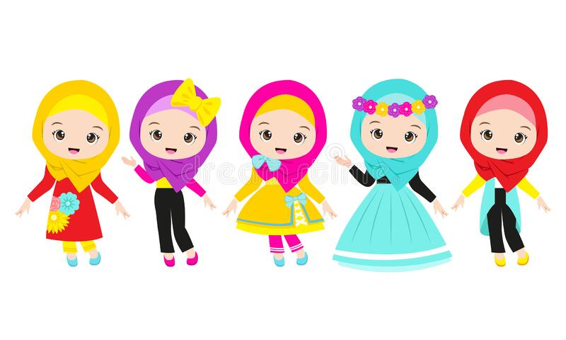 Set of Muslim Girls Cartoon Character with 5 costume royalty free stock photo