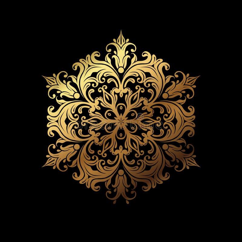 Luxury gold mandala design vector on black stock photography