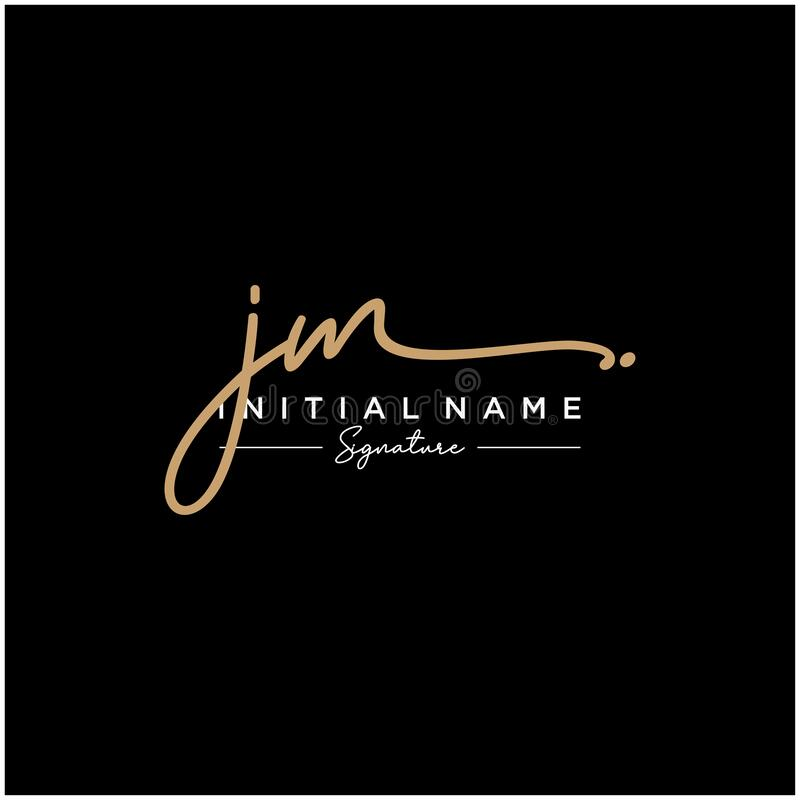 Letter JM Signature Logo Template Vector. Initial signature logo for beauty monogram and elegant logo design, handwriting logo of initial signature, wedding stock illustration