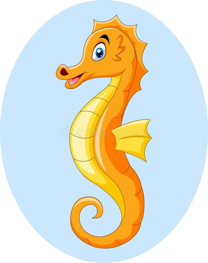 Cute funny cartoon orange seahorse. Illustration of Cute funny cartoon orange seahorse royalty free illustration