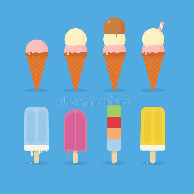 Summer Ice Cream. With cone and popsicle royalty free illustration