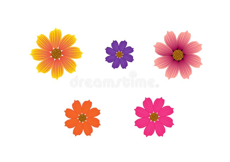 Different coloured flowers in vector form. With additional illustrator file for use with content creation or design layouts vector illustration