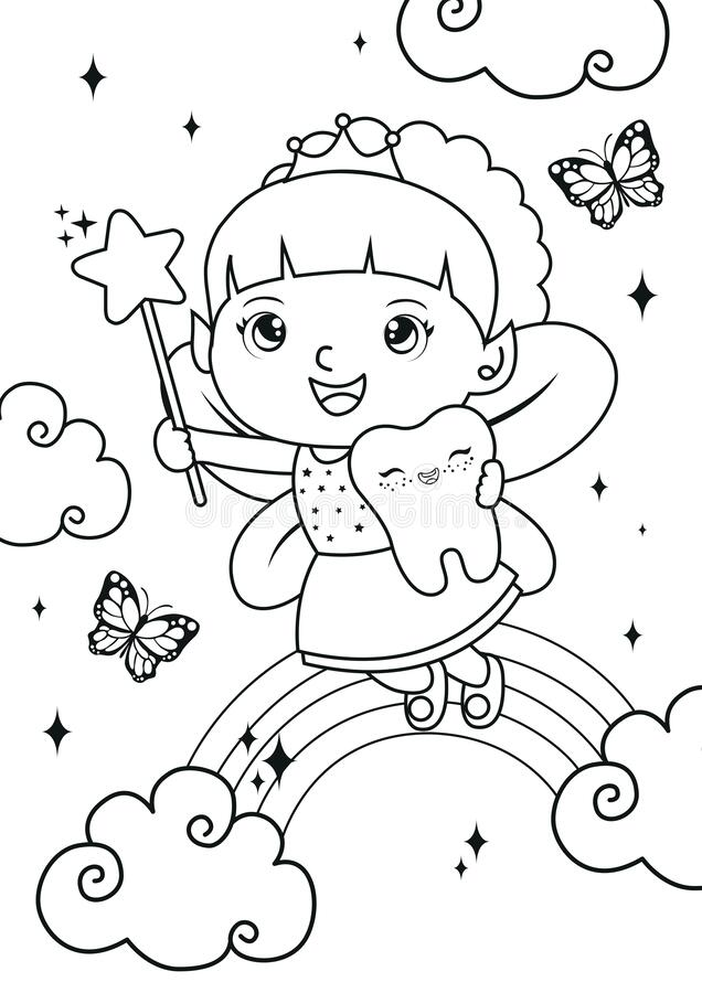 - Tooth Girl Fairy Coloring Pages Stock Vector - Illustration Of Coloring,  Cloud: 182216078