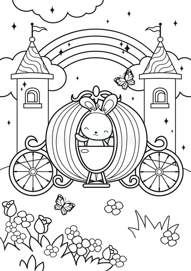 - Princess Bunny Ride On Carriage In The Castle Coloring Pages Stock Vector -  Illustration Of Cute, Background: 183472766