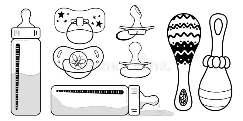 Baby Coloring Kit Contour Drawing Bottle Pacifier Rattle Baby Sets Vector Black And White Coloring Book Page Stock Vector Illustration Of Bottle Pacifiers 183668542