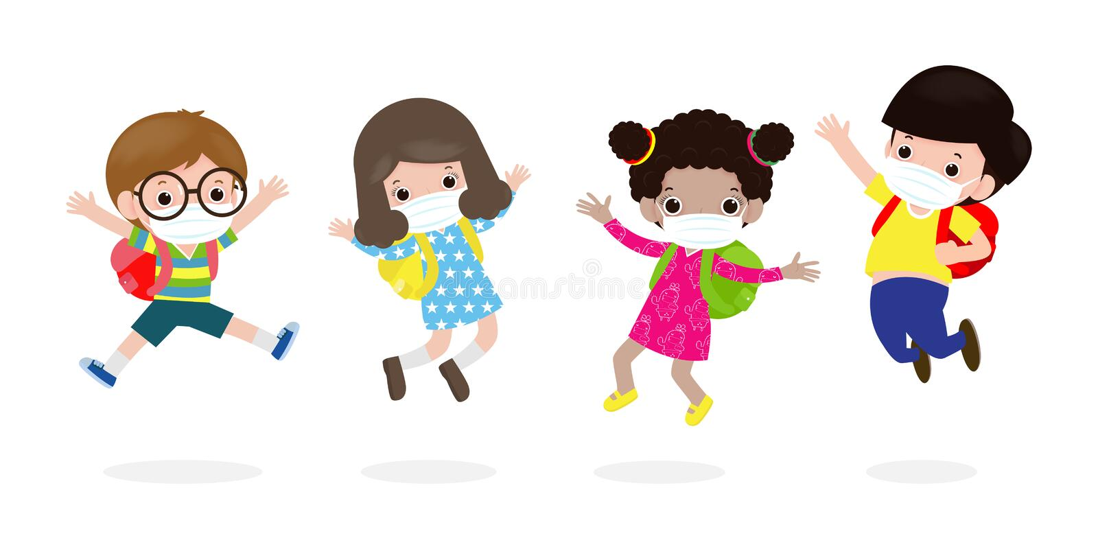 Back to school for new normal lifestyle concept. happy kids jumping wearing face mask protect corona virus or covid 19, group. Of children and friends go to stock illustration