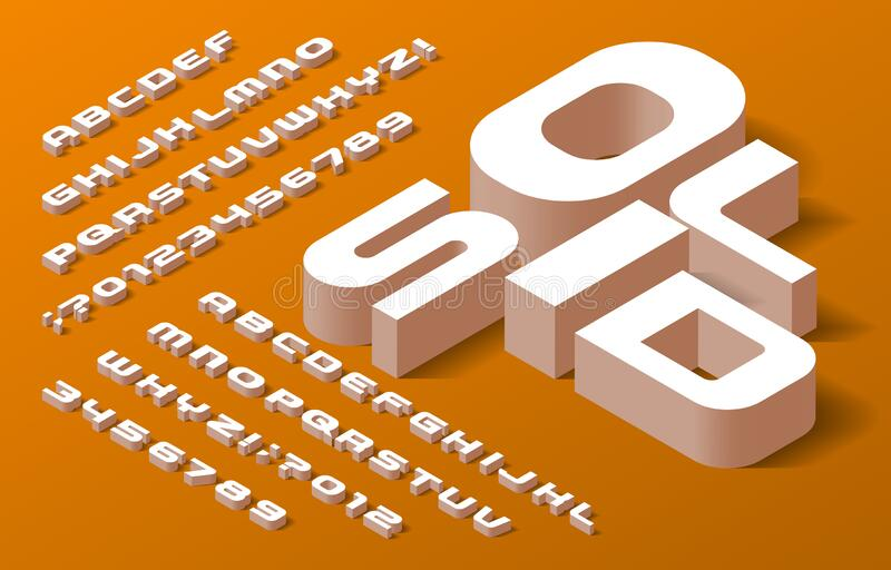 Solid Alphabet Font. 3d Isometric Letters, Numbers And ...