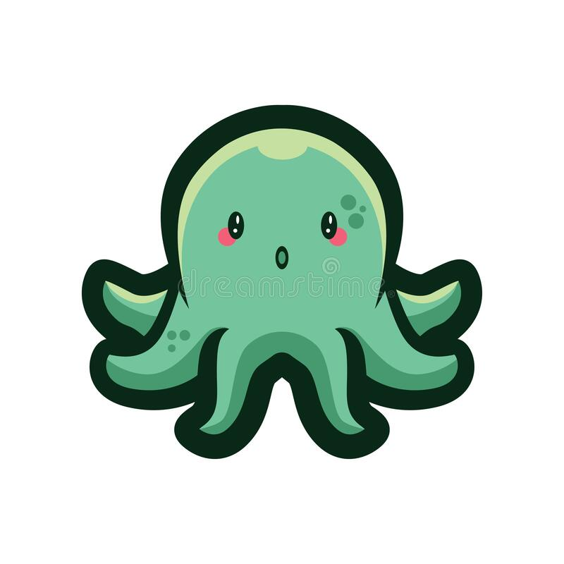 GREEN CUTE OCTOPUS CHARACTER ILLUSTRATION stock photos