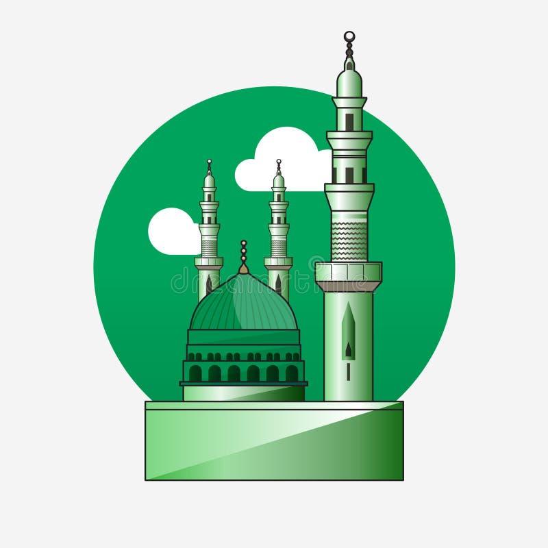 al masjid an nabawi mosque in medina illustration stock vector illustration of cartoon worship 137453970 dreamstime com