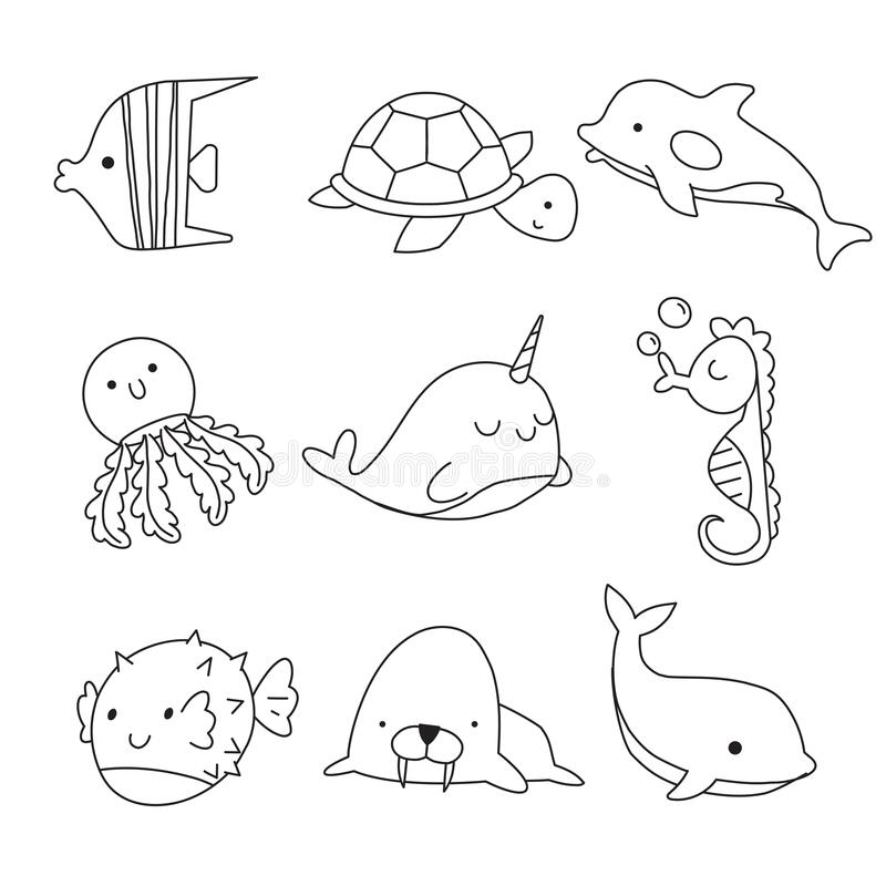 Sea Animals Coloring Page Stock Illustrations – 702 Sea Animals Coloring  Page Stock Illustrations, Vectors & Clipart - Dreamstime