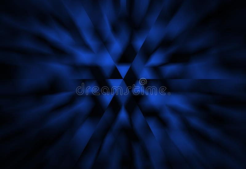 Abstract black and blue background with white triangles and zoom blur effect in modern geometric science or techno design royalty free illustration