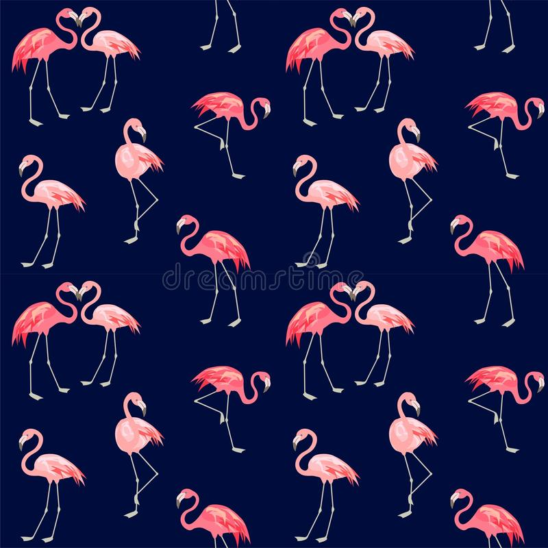 Print with abstract cute pink lovely flamingo. Navy blue print with abstract cute pink lovely flamingo royalty free illustration