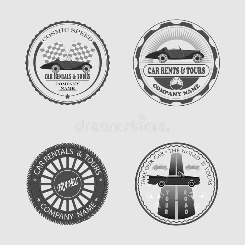 Print Advertising for your business. Set of labels rent a car, icons, stickers and tools for designers stock illustration
