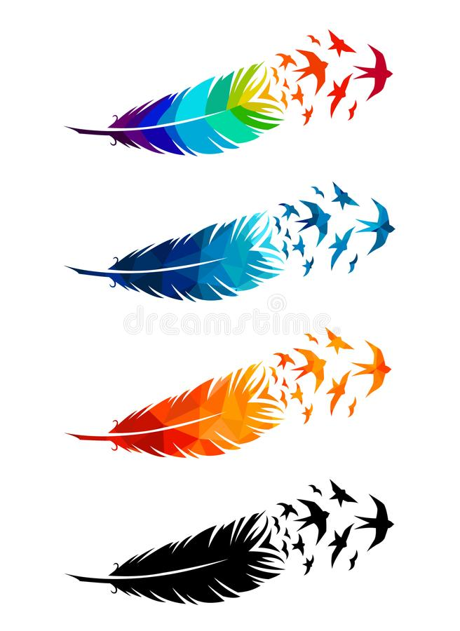 Print art concept colorful design tattoo black feather flying birds swallows silhouette. Vector illustration fly magical pen write. R writing stock illustration