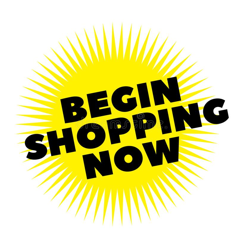 Print begin shopping now stamp on white. Background. Labels and stickers series royalty free illustration