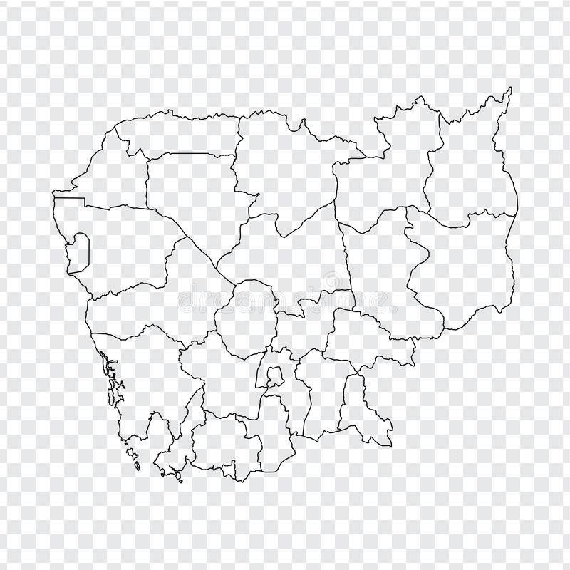 Blank map Cambodia. High quality map Cambodia with provinces on transparent background for your web site design, logo, app, UI. Stock vector. Vector stock illustration