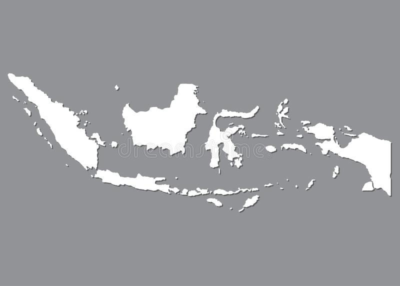 Blank map Indonesia. High quality map of Indonesia on gray background for your web site design, logo, app, UI. Stock vector. Vector illustration EPS10 royalty free illustration