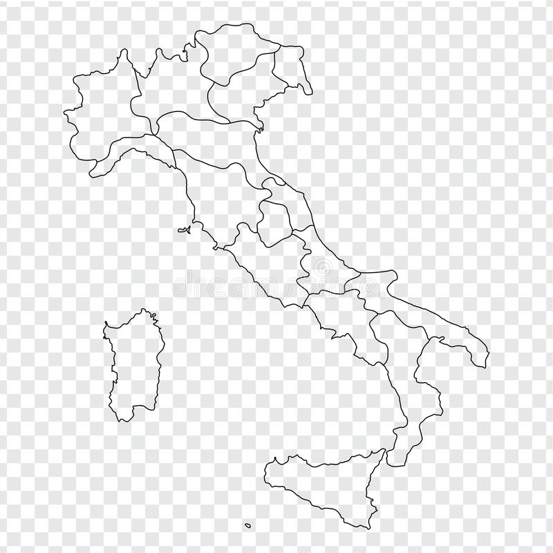Blank map Italy. High quality map Italy with provinces on transparent background for your web site design, logo, app, UI. Stock vector. Vector illustration vector illustration