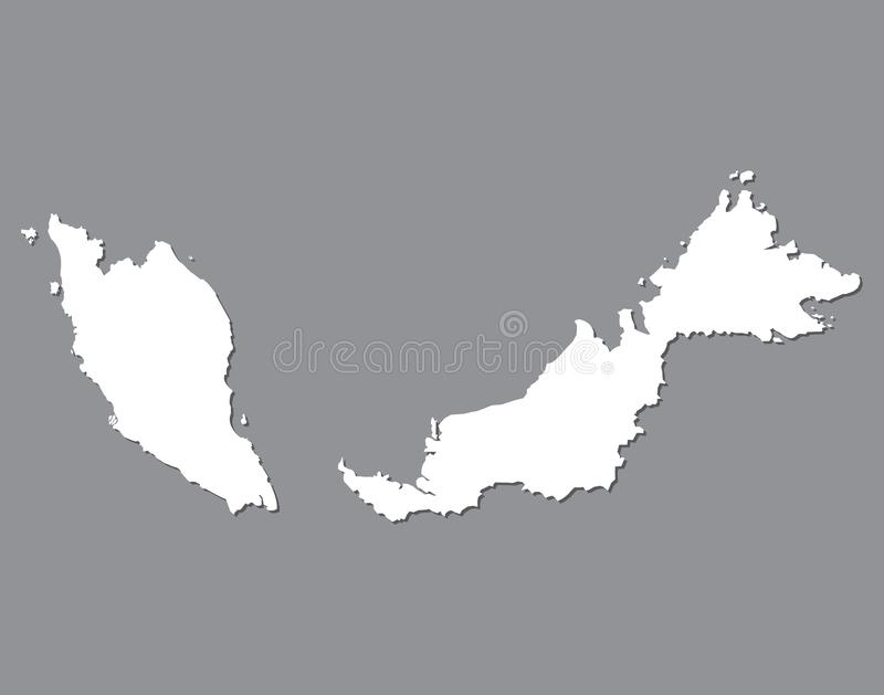 Blank map Malaysia. High quality map of Malaysia on gray background for your web site design, logo, app, UI. Stock vector. Vector illustration EPS10 royalty free illustration