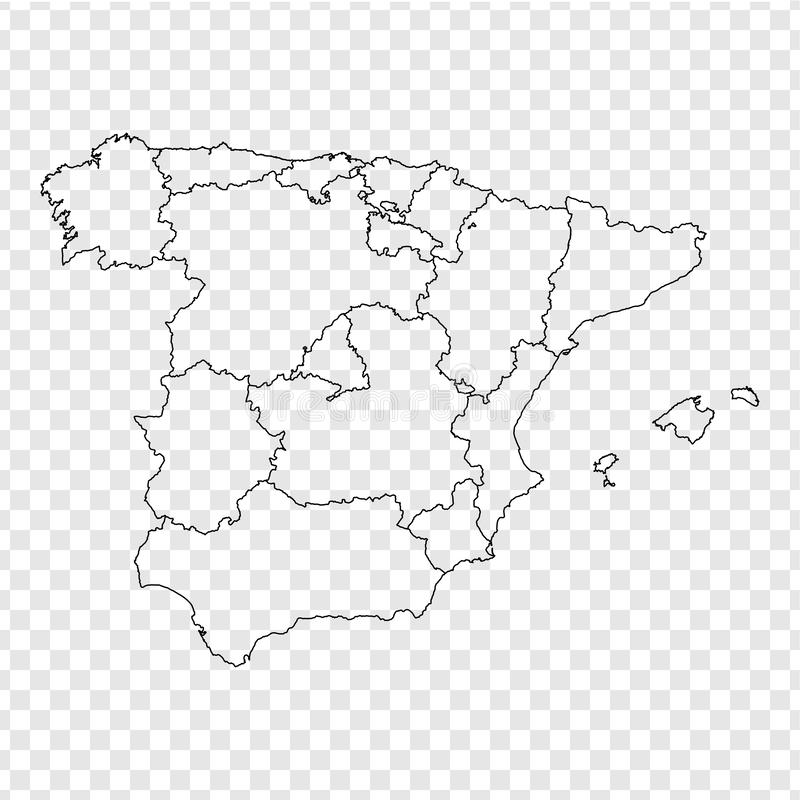 Blank map Spain. High quality map Spain with provinces on transparent background for your web site design, logo, app, UI. Stock vector. Vector illustration stock illustration