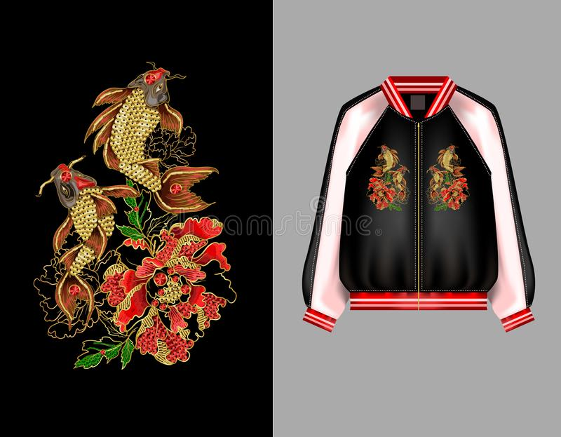 A print for a bomber or a swisshot with embroidery of Japanese carp koi and peony flowers. vector illustration