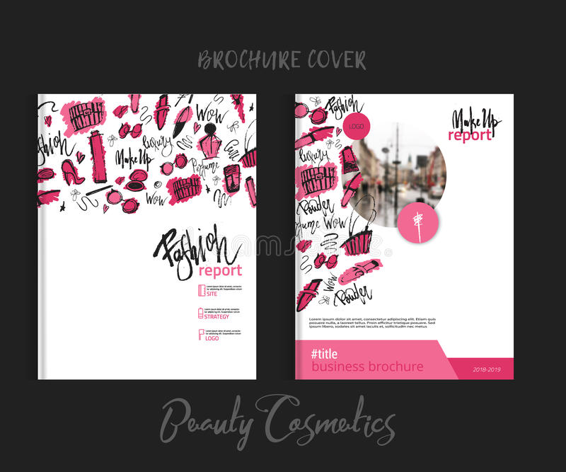 Print brochure makeup cover with beauty items with lipstick, mascara, brush for fashion promotion vector illustration