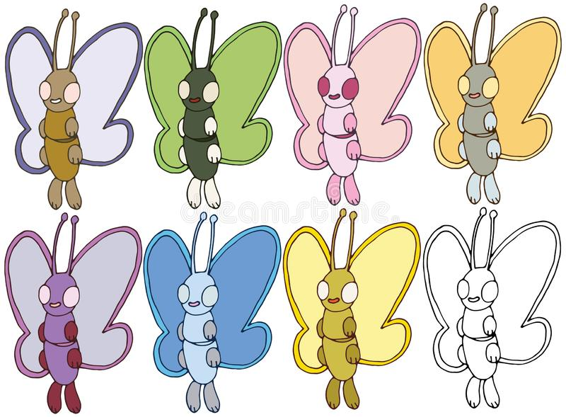 Print cartoon doodle color butterfly monster hand draw set happy stock illustration