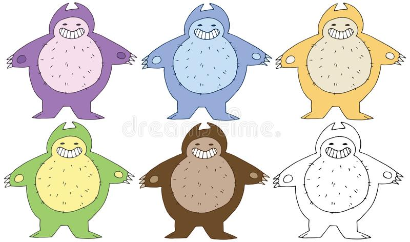 Print cartoon doodle color fat monster happy funny hand draw royalty free illustration